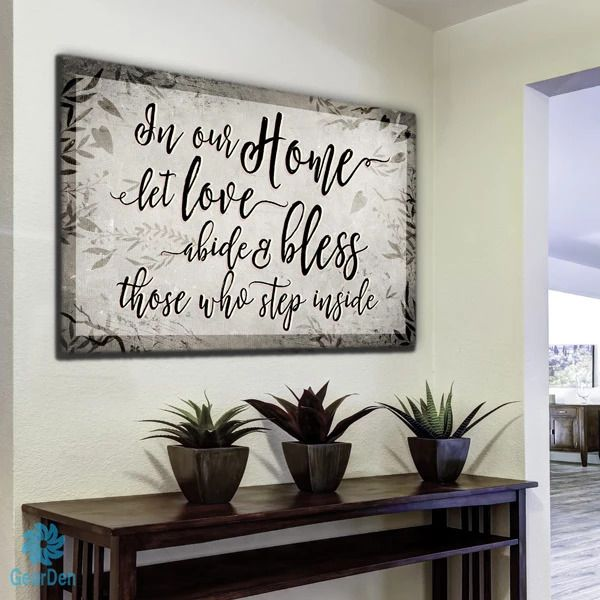 In Our Home Let Love Abide Premium Canvas Family Wall Art