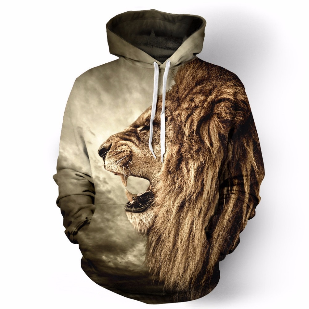 20.95$  Know more - 2016 New Sweatshirt FallWinter Casual animal hoodies 3D lion sweatshirt print lion head hip hop pullover hoodies street wear   #magazineonlinewebsite