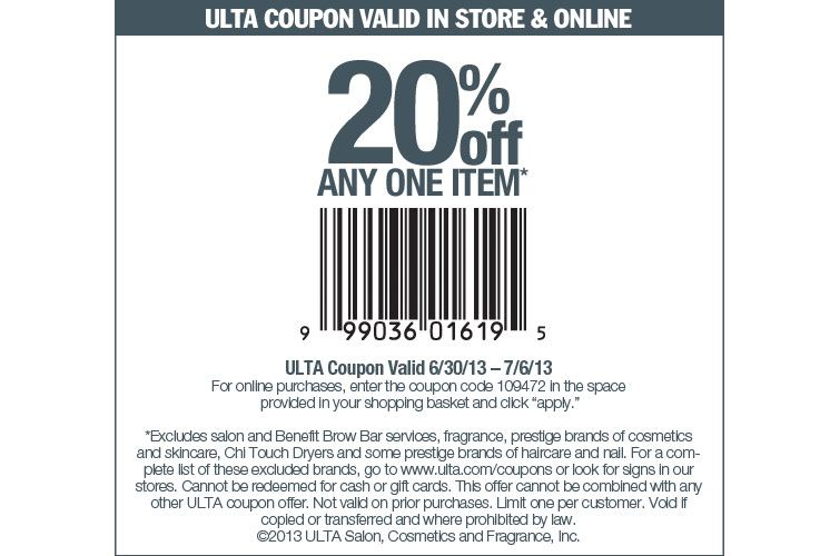 Printable Ulta Coupons 20 Off Any One Item Valid From 0630 To