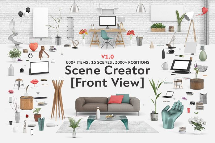 The Interior Scene Creator Front View Edition To Design A Desk Or Living