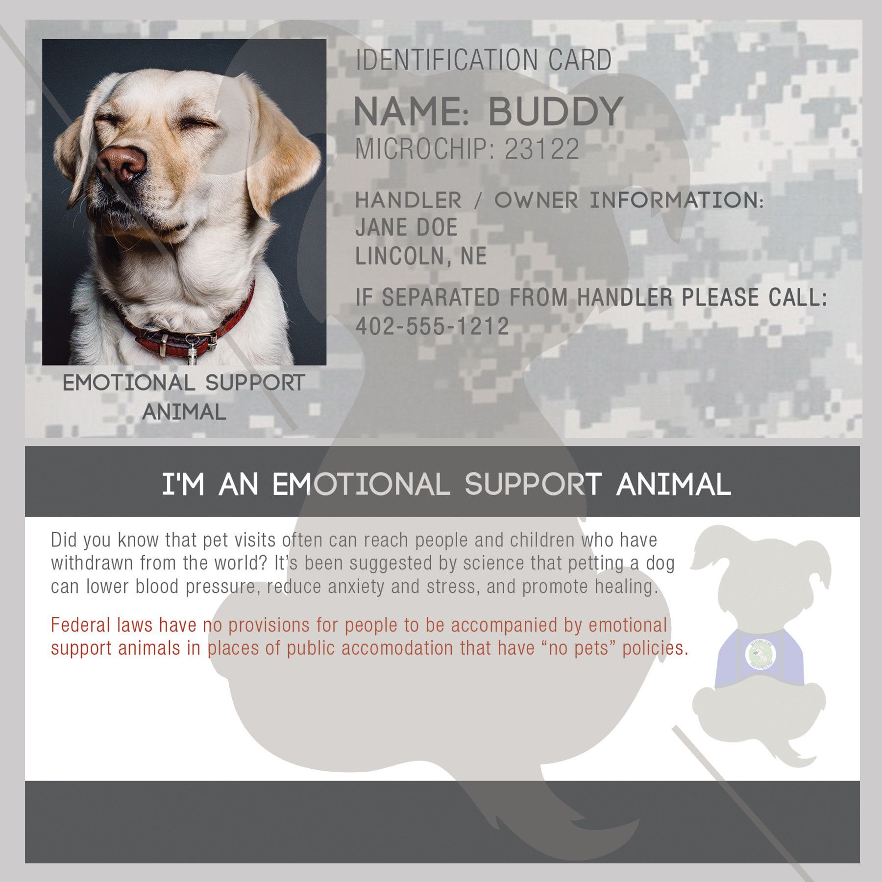 Id Card Emotional Support Animal Emotional Support Animal