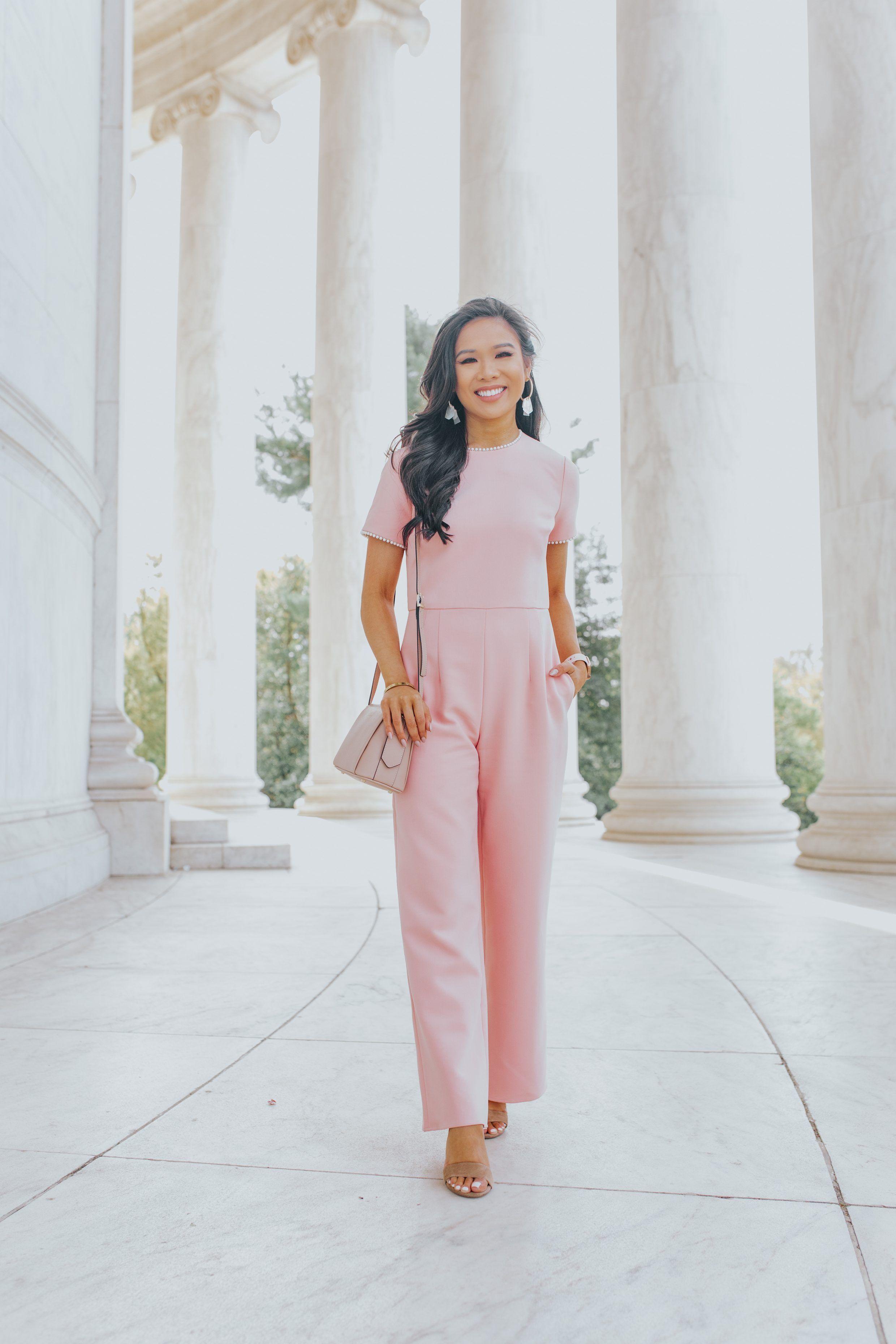 5931516fc Blogger Hoang-Kim wears a pink pearl trim dressy jumpsuit   jumpsuit summer  jumpsuit casual jumpsuit elegant jumpsuit prom jumpsuit outfit jumpsuit  formal ...