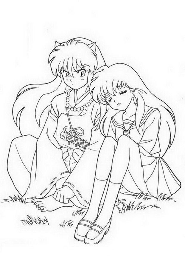 Manga Coloring Pages 2 Manga Coloring Book Inuyasha Coloring Pages