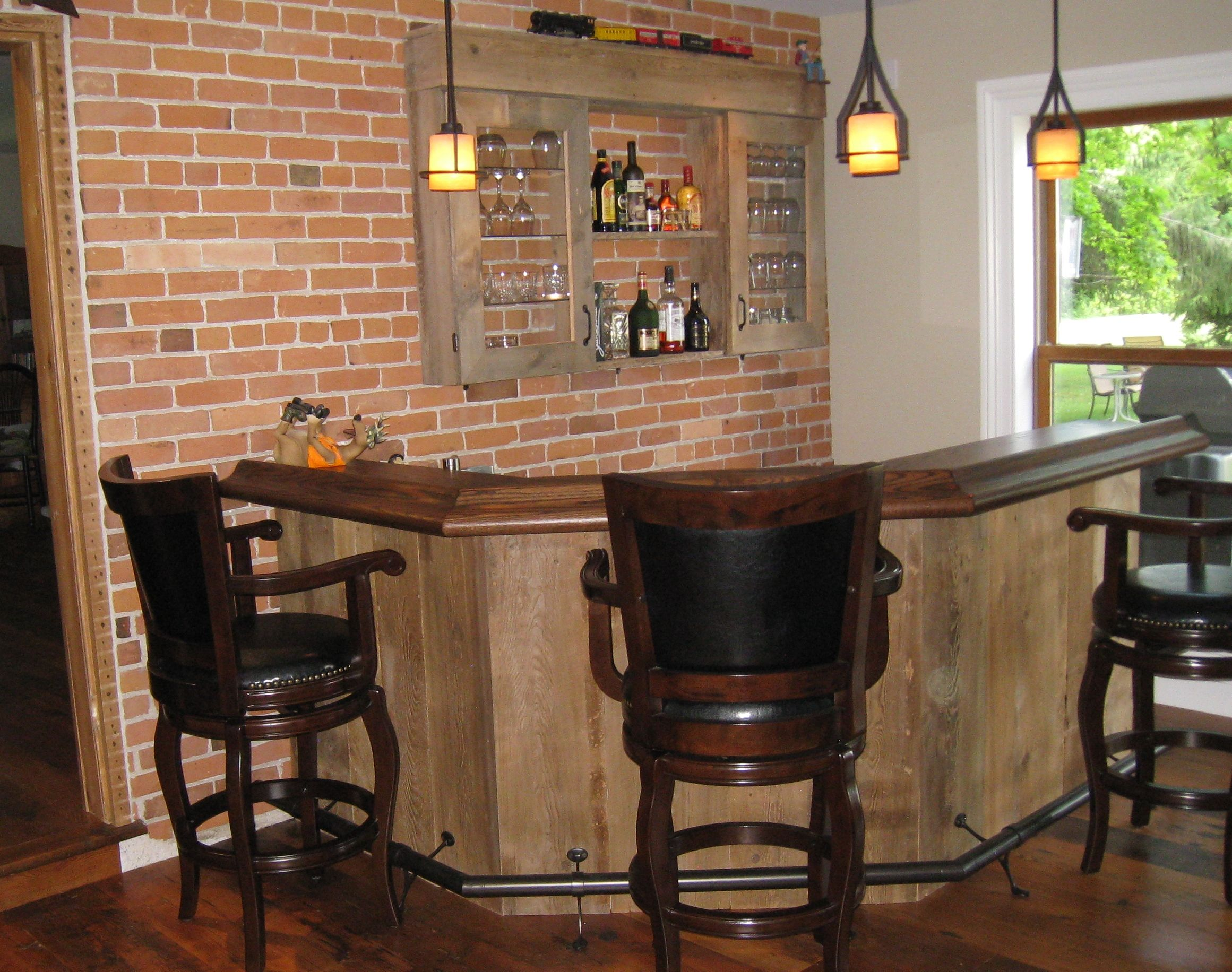 Home Bar With Rustic Barn Board Solid Oak Bar Top And Rubbed Bronze Foot Rail Bars For Home Custom Home Bars Rustic Bar