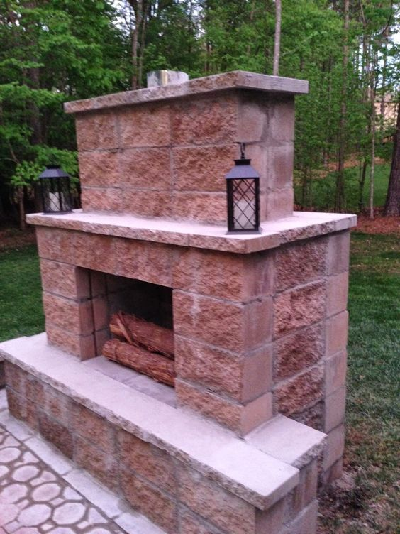 15 Outstanding Cinder Block Fire Pit Design Ideas For ... on Building Outdoor Fireplace With Cinder Block id=36728