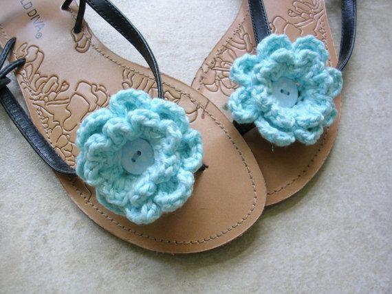 22460129f9ff Sandal Clips - Flip-Flop Clips - Crochet Flower Clips - Summer Sandal  Accessories