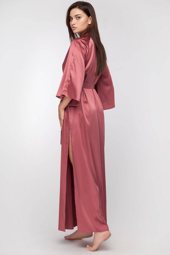 Lingerie Sef of Long Silk Robe and Long Silk Nightgown with  0d49af8f8