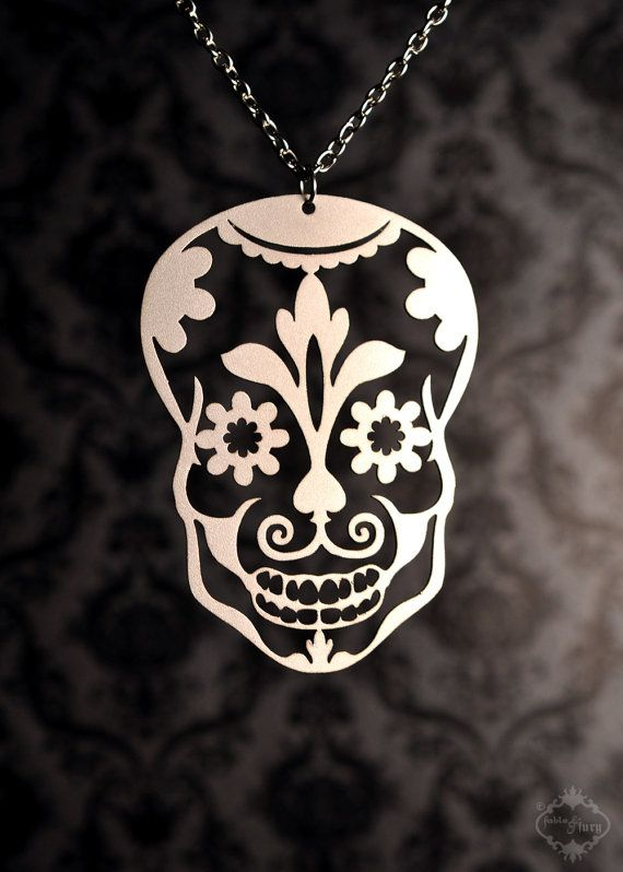Sugar Skull necklace in silver stainless steel - day of the dead jewelry