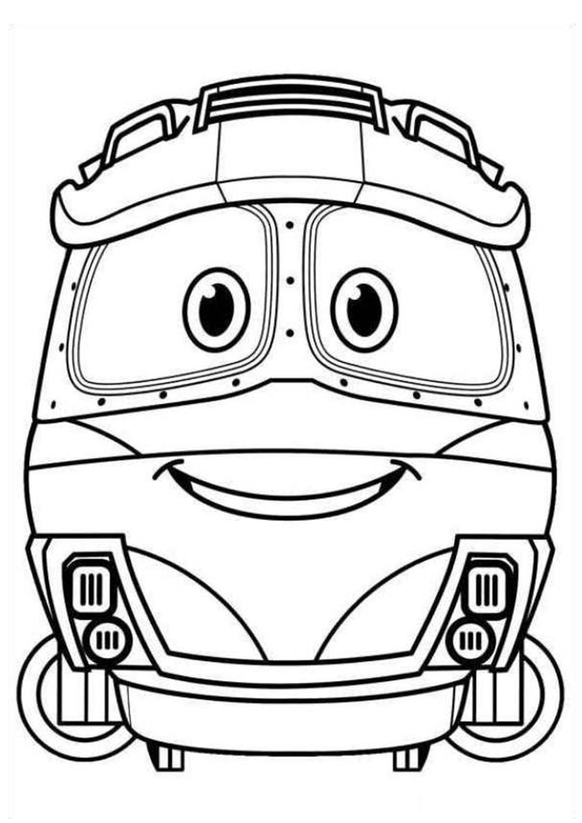 Kay smiles Cartoon coloring pages, Train coloring pages