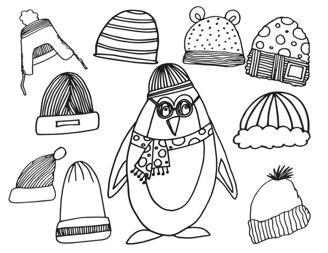 Winter Penguin With Winter Hats Free Printable Coloring Page