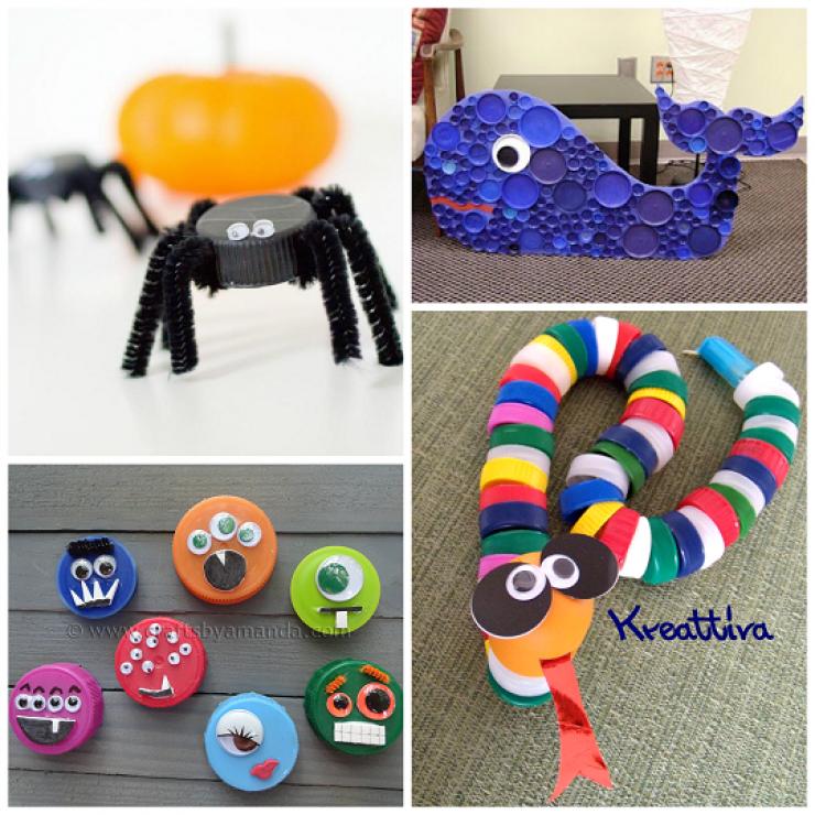 18 projets base de bouchons de plastique pour faire des bricolages avec les enfants. Black Bedroom Furniture Sets. Home Design Ideas