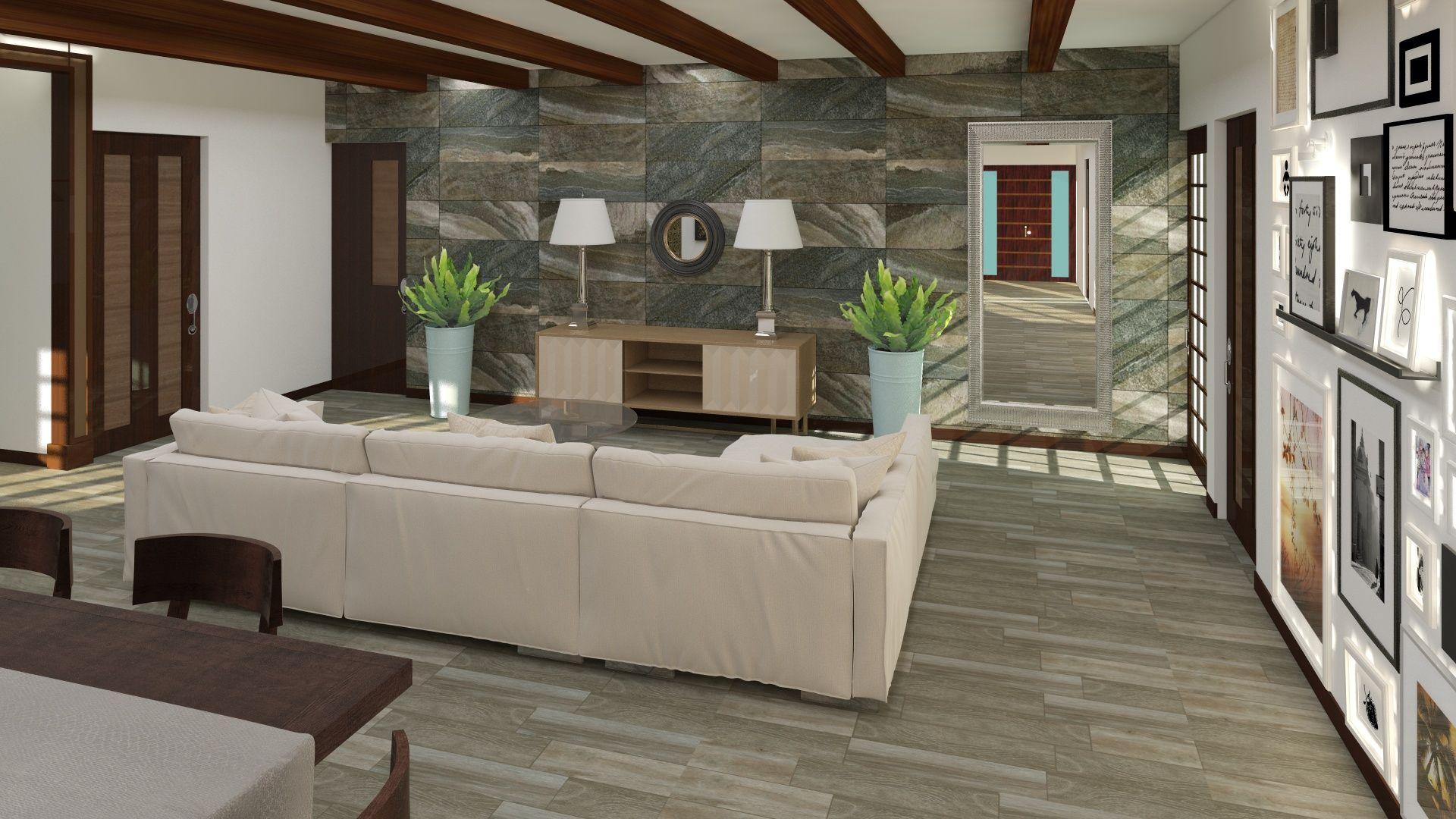 Sala de estar de estilo contempor neo materiales for Sala de estar madera