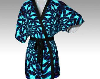853cbfa2e7261 Check out Psychedelic Kimono, Blue Kimono, Kimono Robe, Draped Kimono, Dressing  Gown, Festival Clothing, Loungewear, Beach Coverup, Swimsuit Coverup on ...