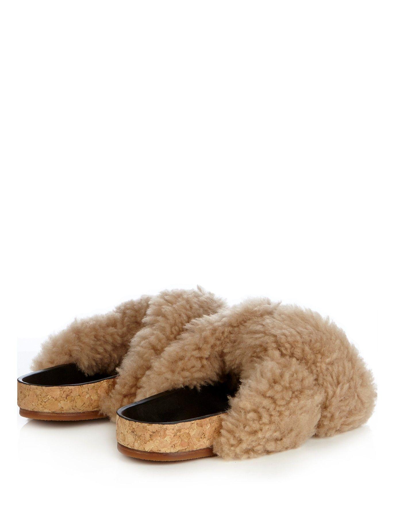 Kerenn shearling flat sandals   Chloé