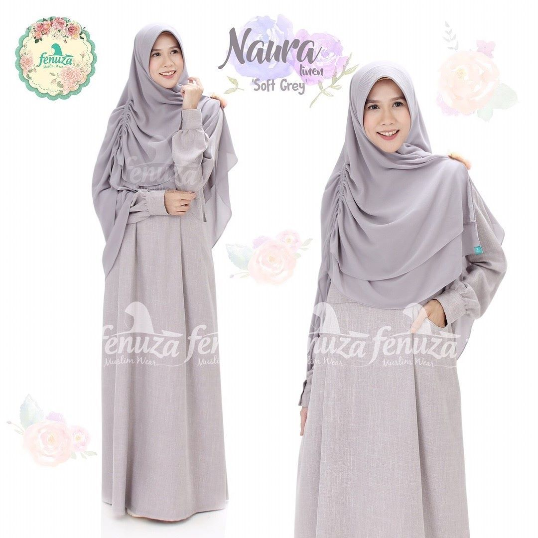 Gamis Fenuza Muslim Wear Naura Series Soft Grey Baju Gamis Wanita