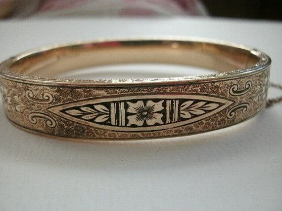 ART DECO BRACELET Gold over Silver Engraved Flower Fluer Detailed Exterior unsigned