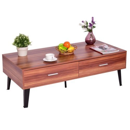 Walnut Finish Wood Look Mid Century Modern Coffee Table With Storage Drawers Living Room Furniture