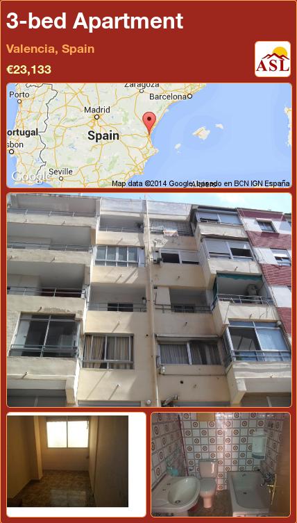 3-bed Apartment in Valencia, Spain ►€23,133 #PropertyForSaleInSpain