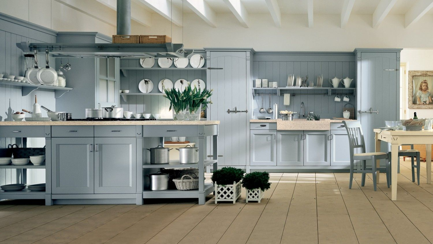 In Cucina In English Cucina In Stile Country Chic Con Penisola Finitura