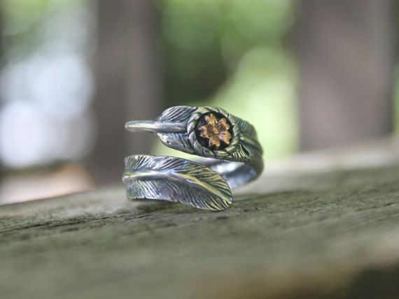Tibetan feather ring Sterling silver ring Boho by SkyesPurpleCloud