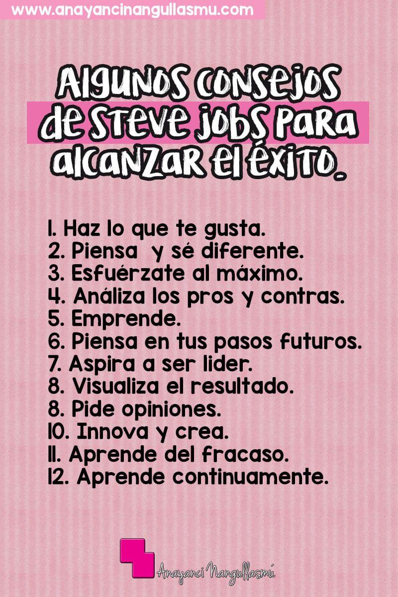 Lucha para alcanzar el éxito con estos consejos del gran Steve Jobs. Pégala en el lugar que más te apetezca para que te recuerde tu objetivo.