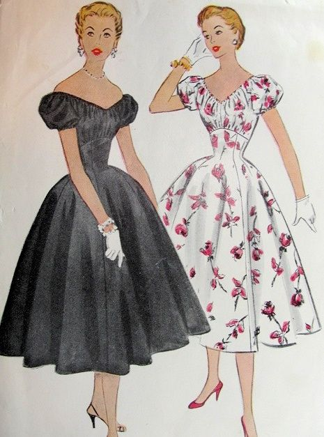 1950s BEAUTIFUL OFF SHOULDERS COCKTAIL EVENING DRESS PATTERN PURE FLATTERY McCALLS 9817