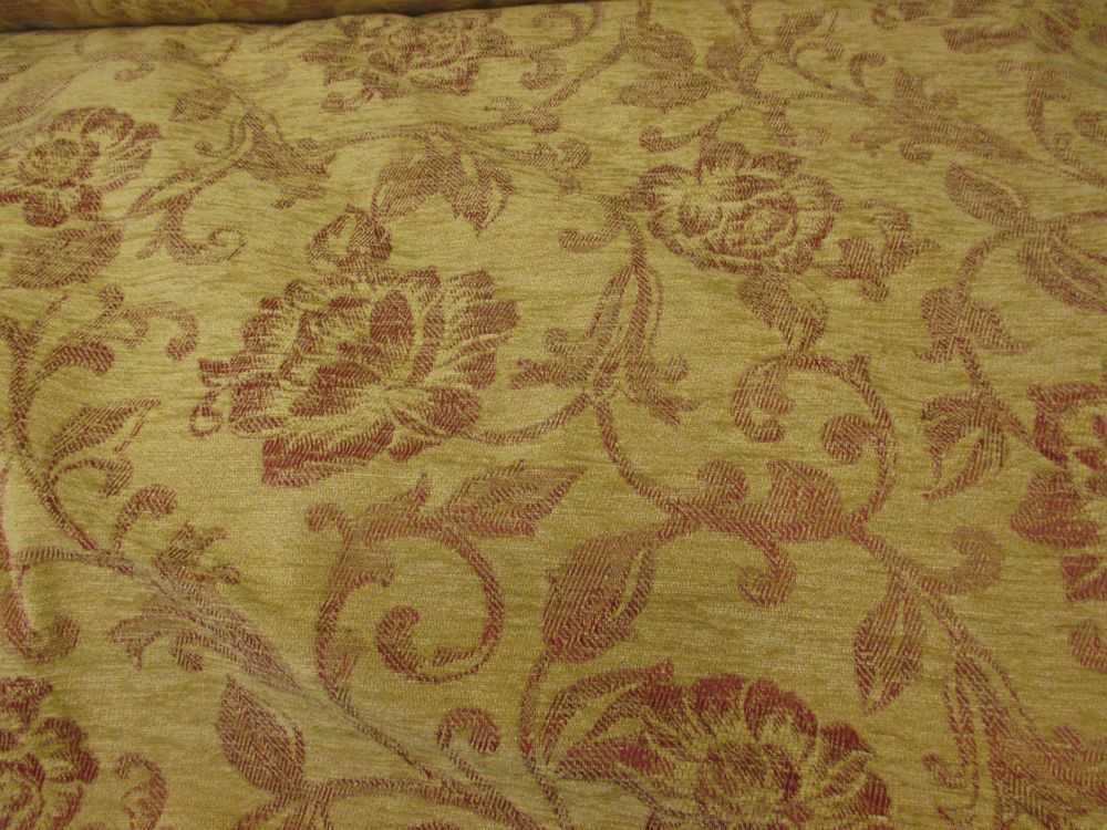 Gold Maroon Edwardian Lady Floral Jacquard Heavy Upholstery Chenille Fabric Chenille Fabric Chenille Fabric