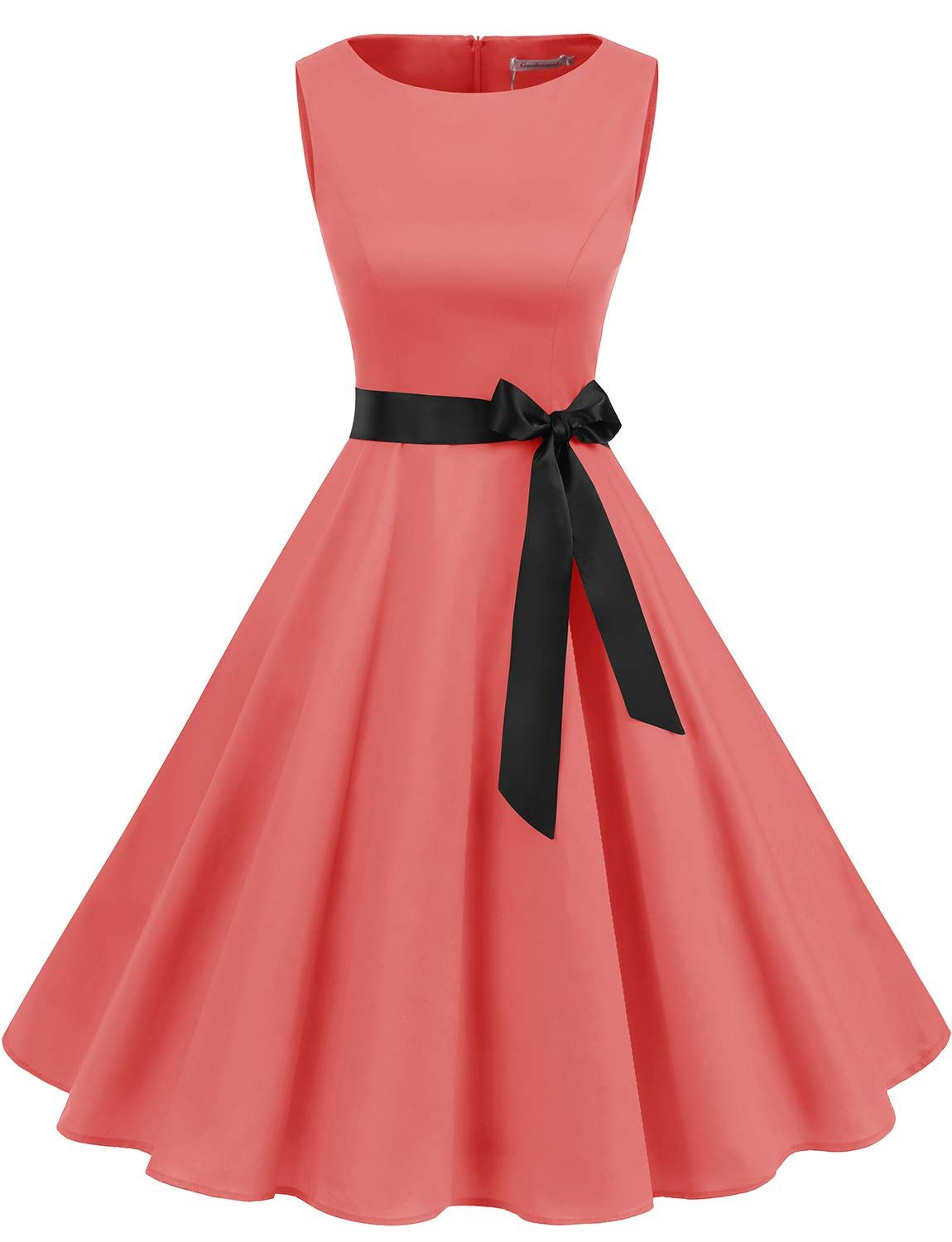 5ae1dcc9850 Amazon.com  Gardenwed Women s Audrey Hepburn Rockabilly Vintage Dress 1950s  Retro Cocktail Swing Party