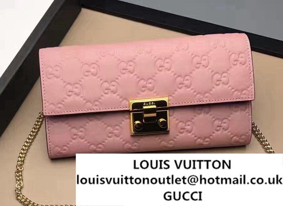 7cf2bd34ea90 Gucci Padlock Signature Leather Continental Chain Wallet Bag 453506 Pink  2017