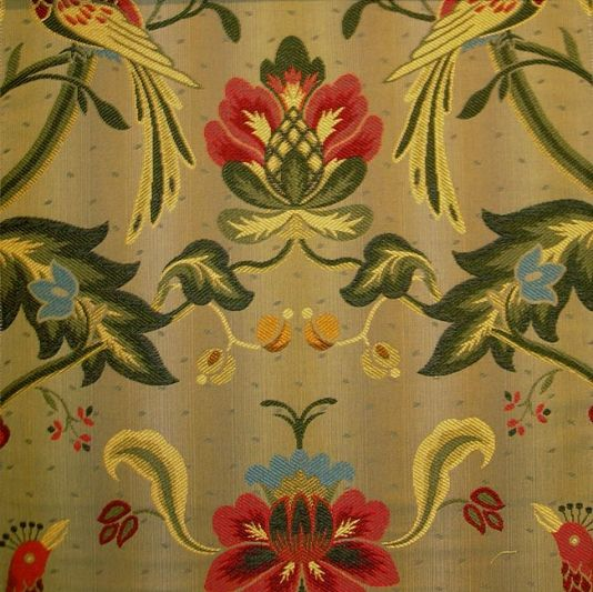 Oiseaux De Paradis Fabric Floral And Bird Woven Fabric In Red Gold