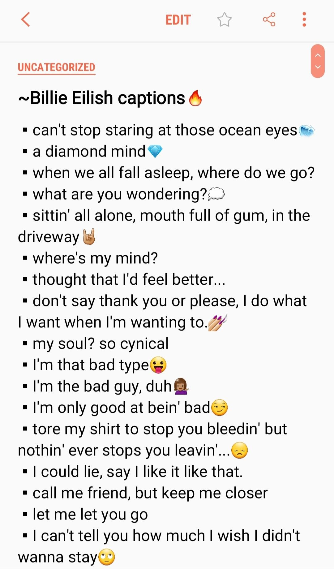part of billie eilish captions cool and savage captions deep