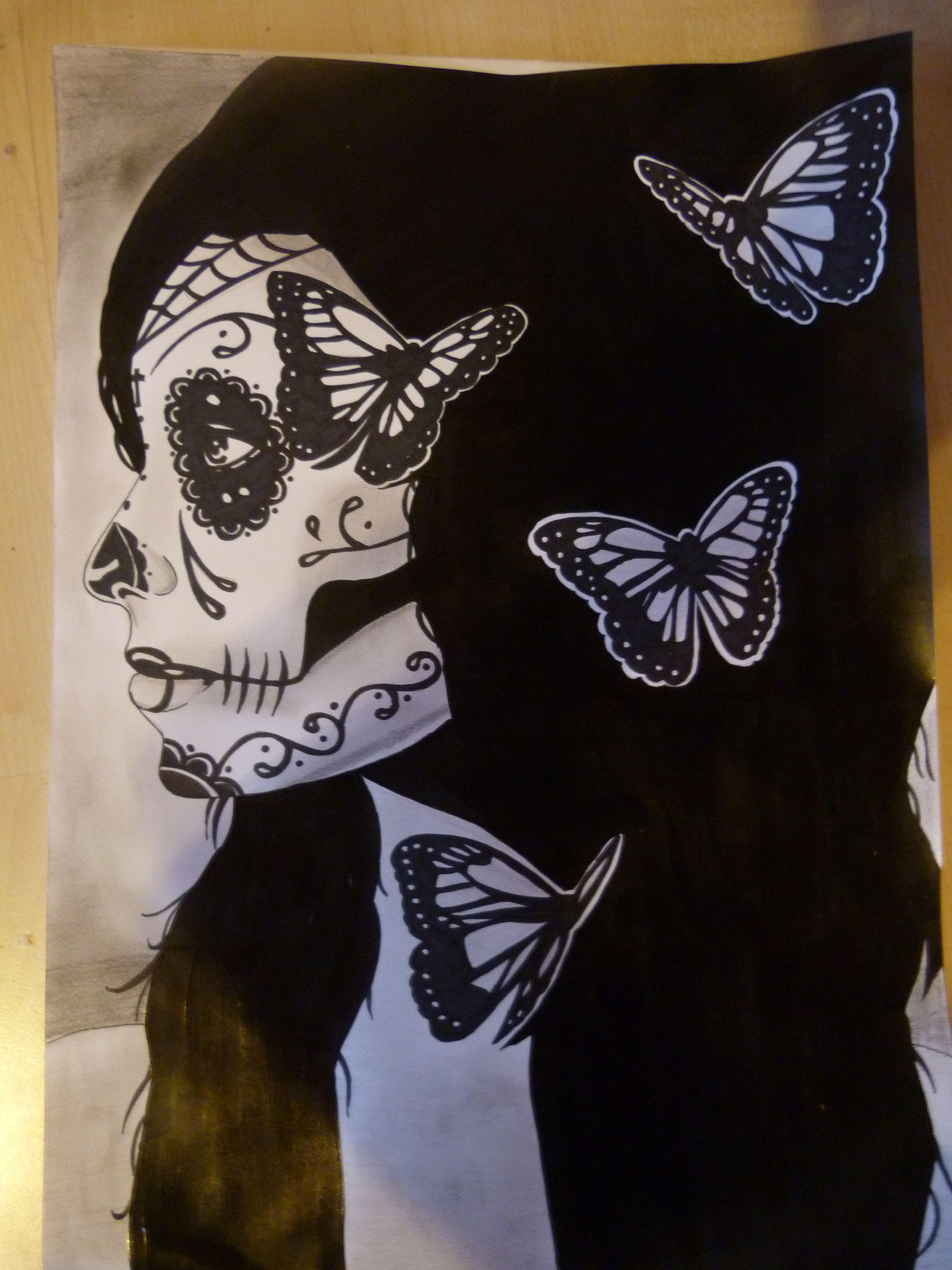 #sugarskull #butterfly #zeichnen #draw #drawing #art #artwork #painting