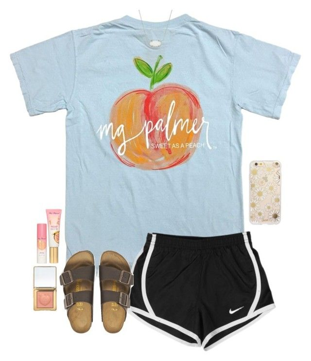 """peachy"" by gabyleoni ❤ liked on Polyvore featuring NIKE, Sonix, Birkenstock, Kendra Scott and Too Faced Cosmetics"