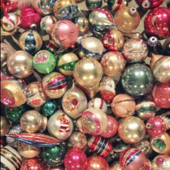 Lots of pink and turquoise in these polished mercury ornaments.