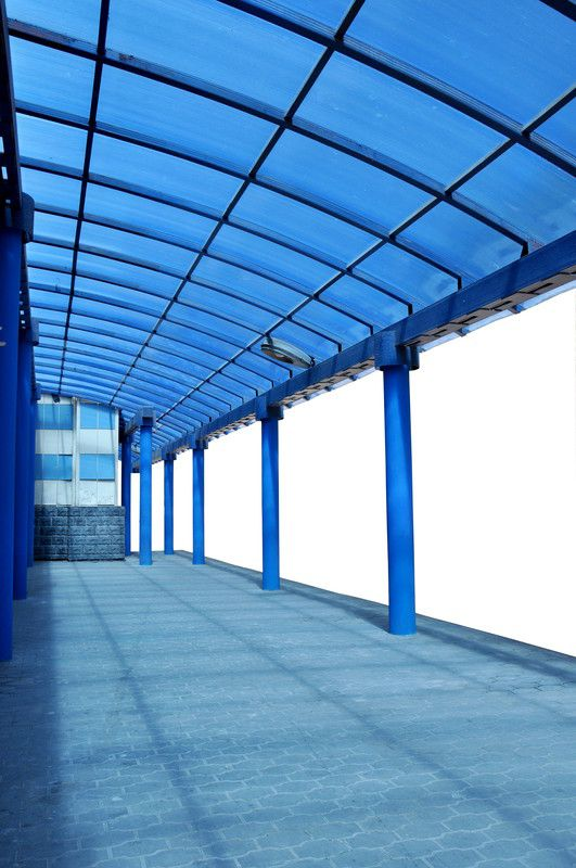 Blue Curved Plastic Roof Made From Polycarbonate Sheeting Lightweight Strong Eco Friendly Building M Plastic Roofing Corrugated Plastic Roofing Lanai Patio
