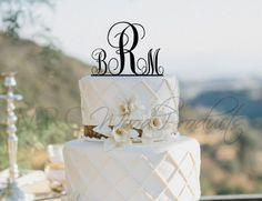 Wedding Cake Topper Personalized Monogram Cake Topper