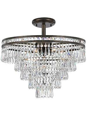 New Legend Lighting Chrome 4 Light Round Crystal Chandelier Pendant Ceiling Fixture