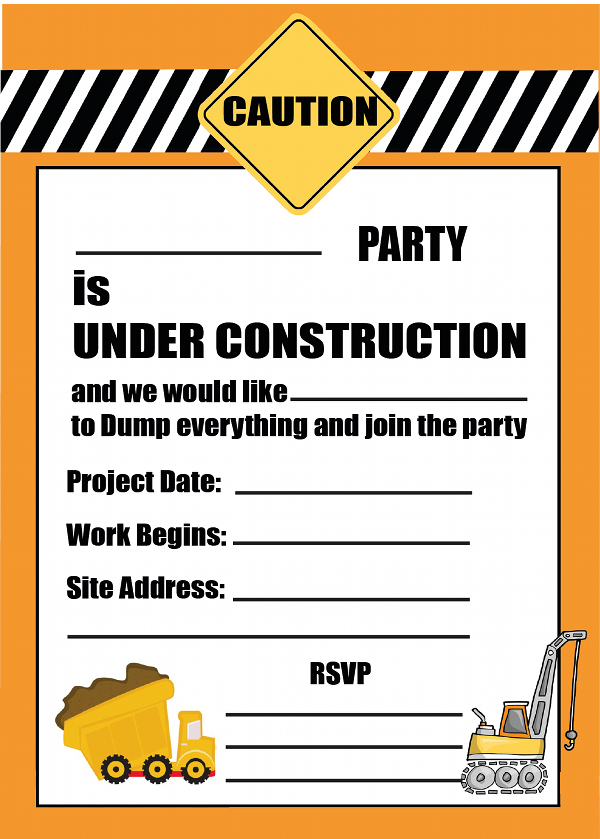photograph about Free Printable Construction Birthday Invitations named Free of charge printable Structure Social gathering Invitation Printable