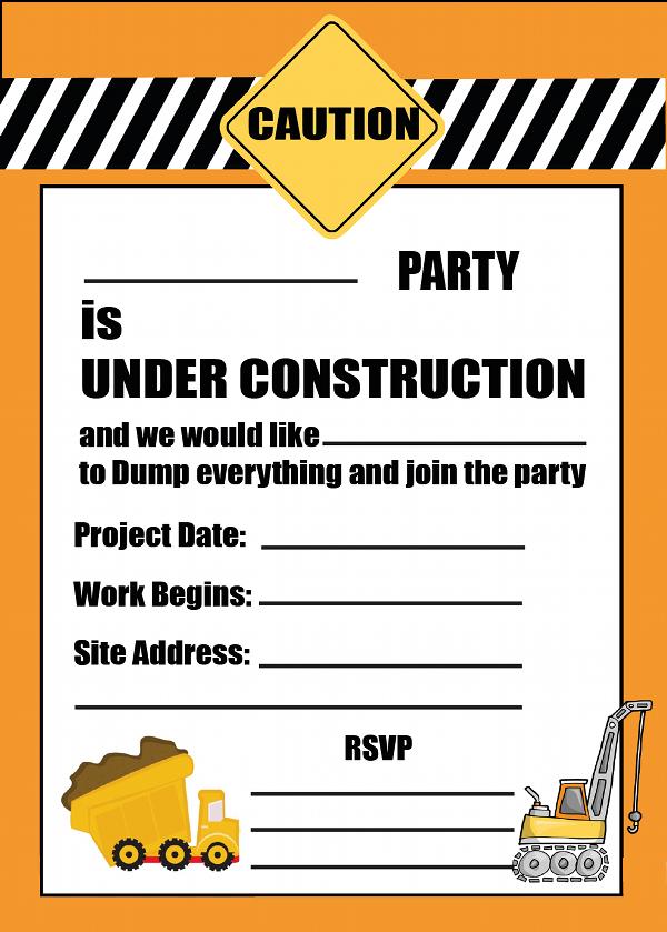 construction birthday invitations