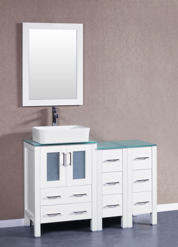 "Bosconi A124RCCWG2S Contemporary 48"" Free Standing Vanity Set with Wood Cabinet White Fixture Vanity Single"