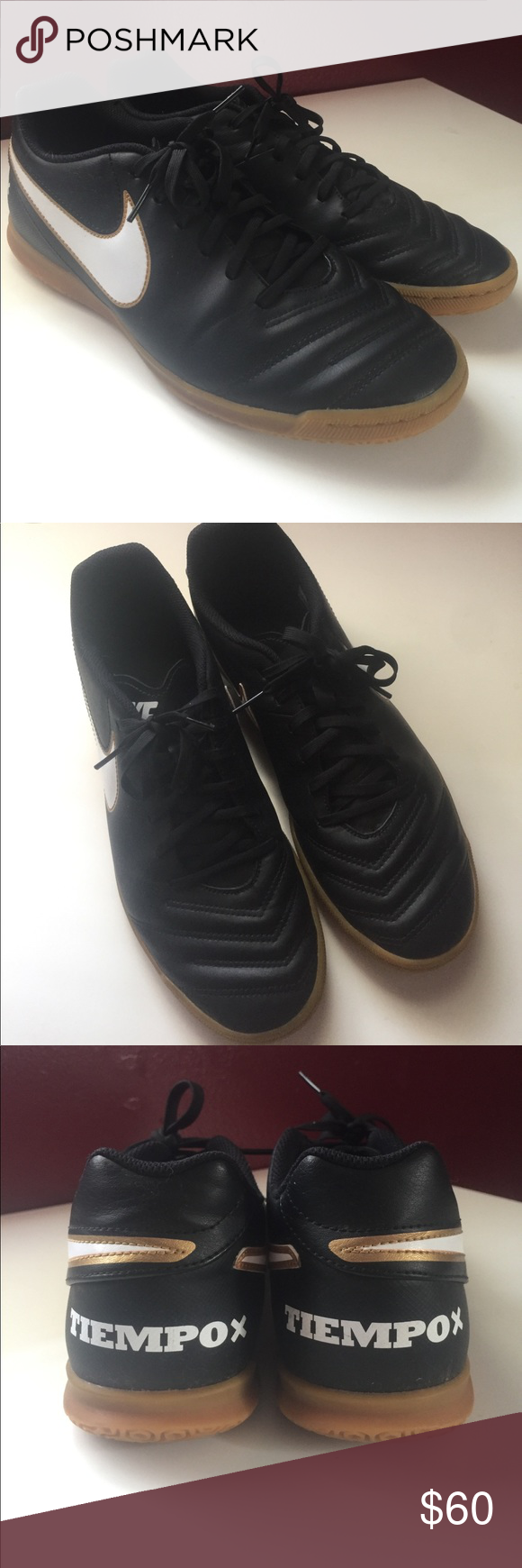Men's TiempoX Nike indoor soccer cleats Men's black and gold TiempoX indoor soccer cleats in a size 10 with gum soles. Gently used -- only played in them twice (see last photo to see clean soles). Great condition. Price negotiable! 🌸 Nike Shoes Athletic Shoes