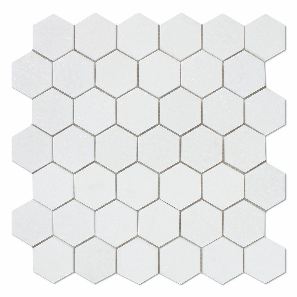 "Thassos White Marble Honed 2"" Hexagon Mosaic Tile                                                                                                                                                                                 More"