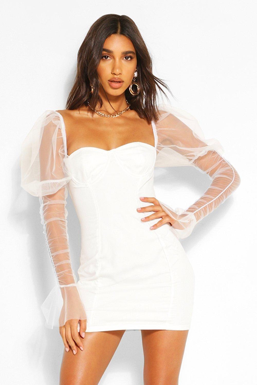 Mesh Cup Detail Puff Sleeve Mini Dress Boohoo Mini Dress With Sleeves Mini Dress Bodycon Fashion [ 1500 x 1000 Pixel ]