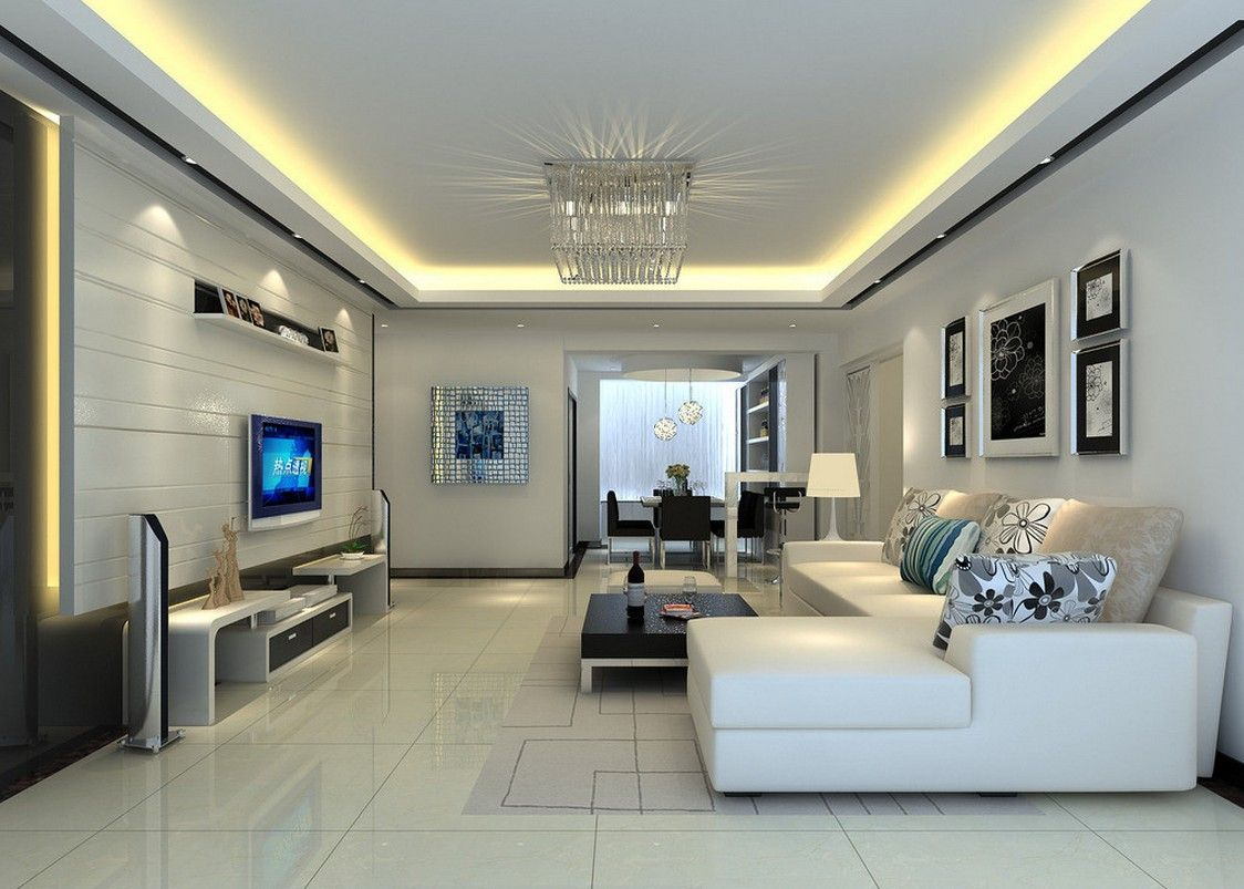 Modern elegant living room has a sofa that is big and beautiful and - Interior Admirable Open Plan Best Living Room Design Ideas With Charming White Sectional Sofa And Beautiful Black Coffe Table Plus Gorgeous Tv Wall Units