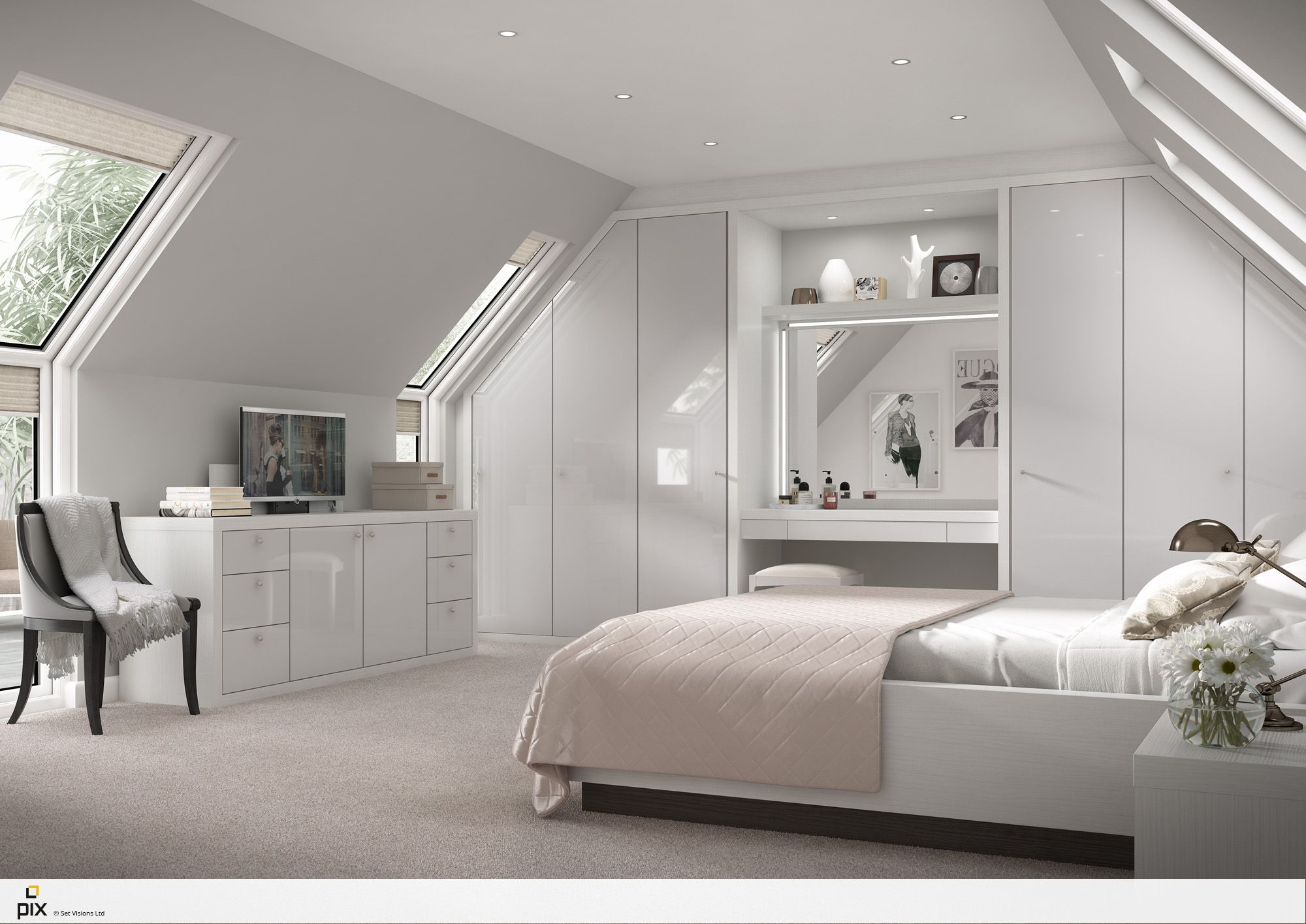 Sophisticated feminine bedroom set within a apex attic space with ...
