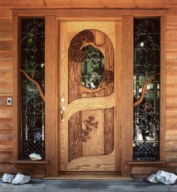 Carved hummingbird door by ron ramsey of lake tahoe the