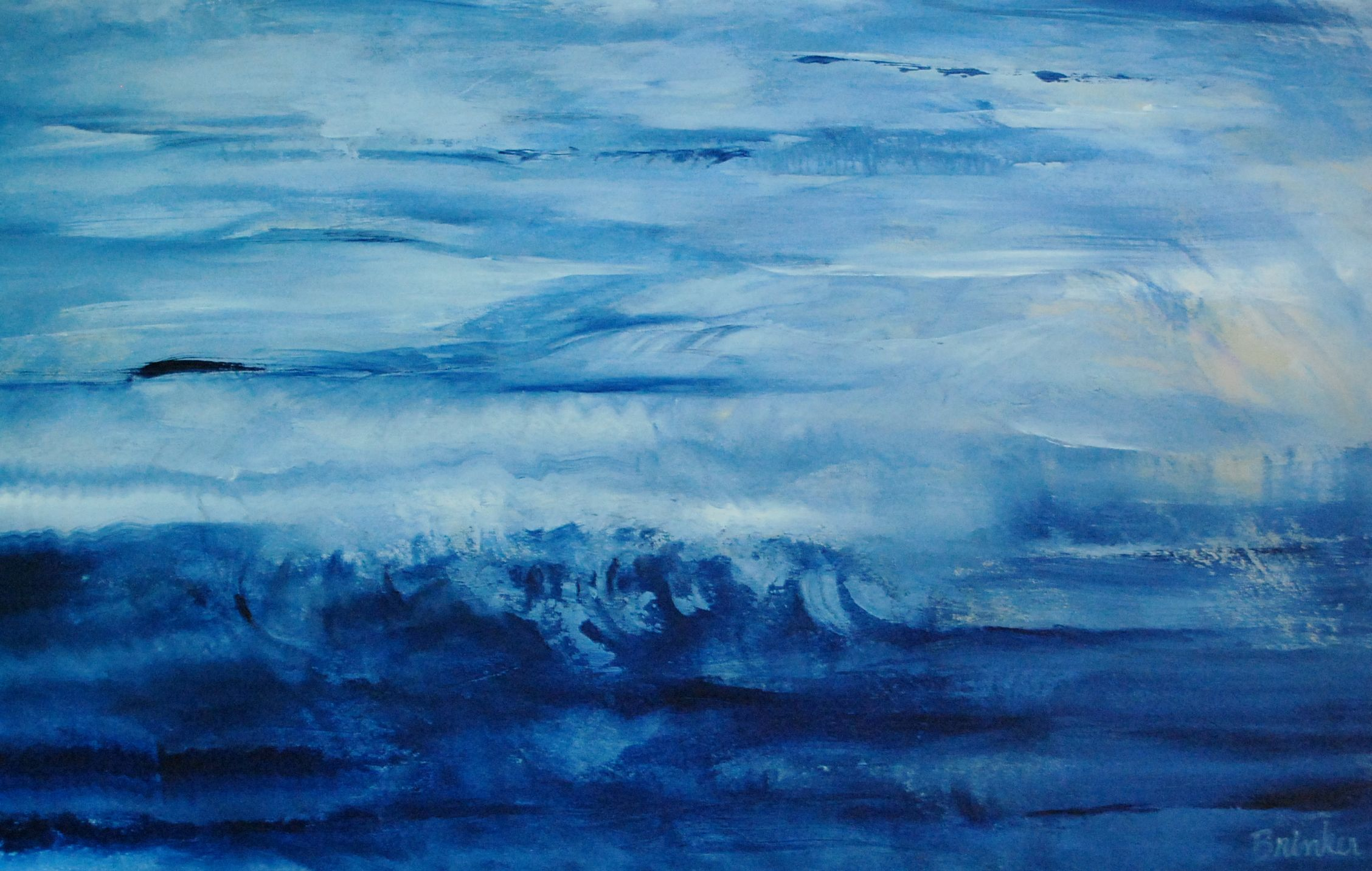 Blue I Contemporary Abstract Painting By Cindy Brinker By