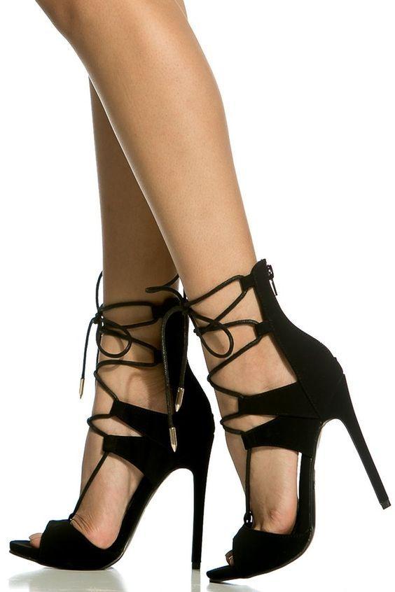 bf8840fc397e Black Faux Nubuck Lace Up Single Sole Heels   Cicihot Heel Shoes online  store sales Stiletto Heel Shoes