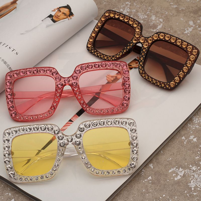 69d64898f19 Rhinestone Square Frame Anti UV Polarized Women Sunglasses in 2018 ...