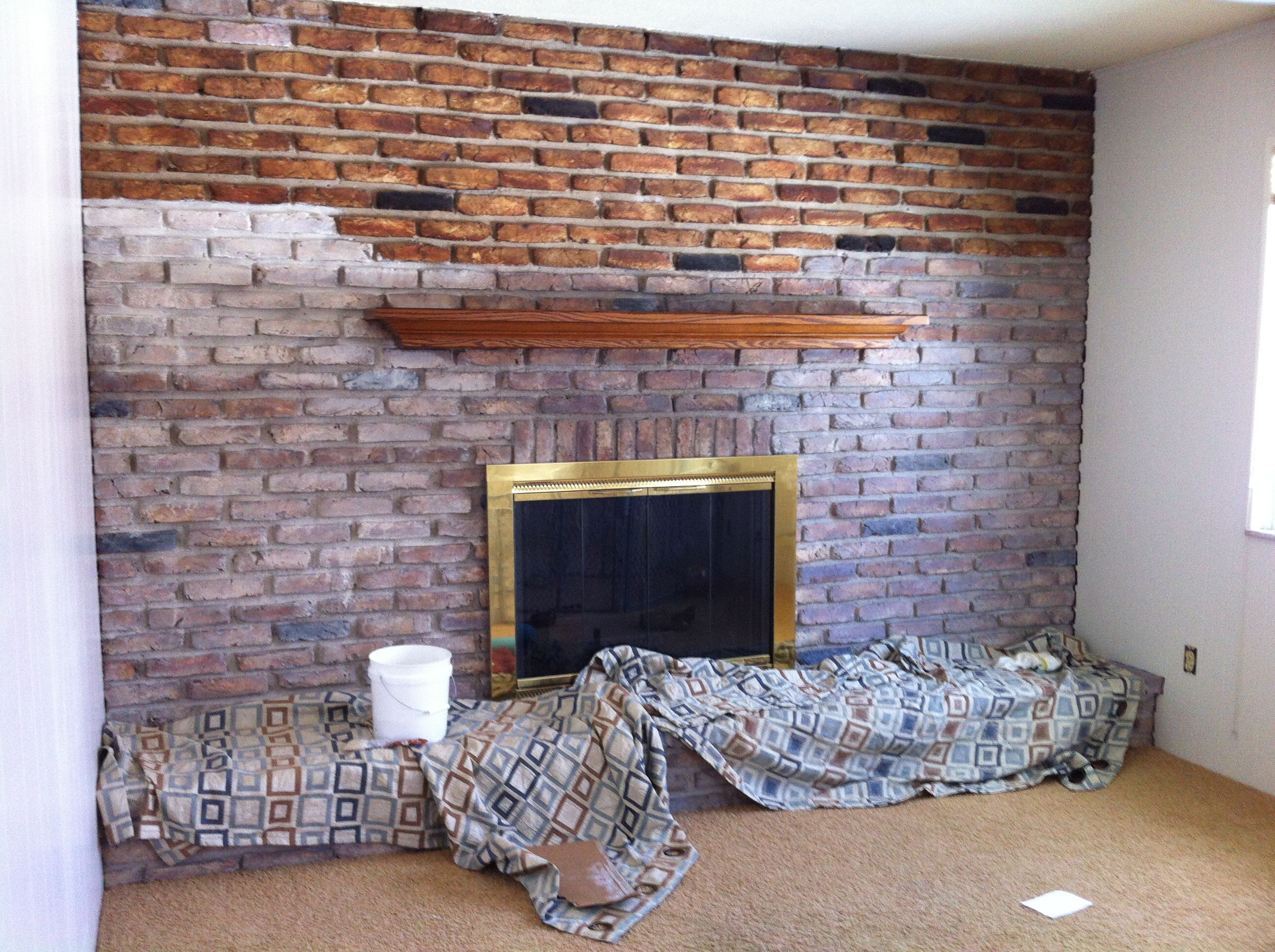 how to whitewash a brick wall or fireplace outdated to cottage